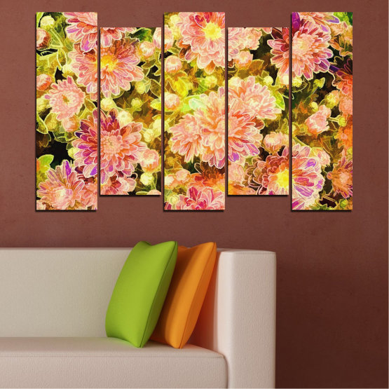 Canvas prints & wall decorative panels - 5 pieces №0673 » Pink, Green, Yellow, Orange, Beige » Flowers, Collage, Spring, Bouquet Form #3