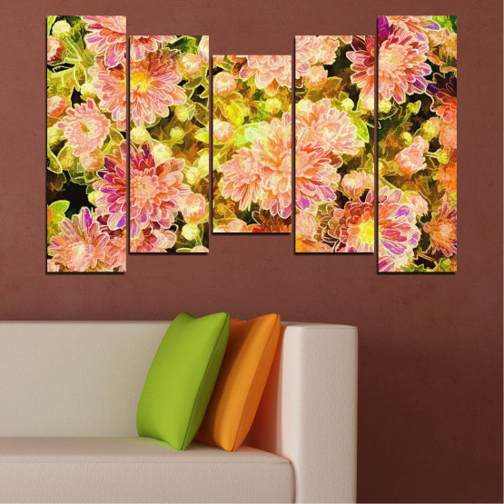 Canvas prints & wall decorative panels - 5 pieces №0673 » Pink, Green, Yellow, Orange, Beige » Flowers, Collage, Spring, Bouquet Form #4