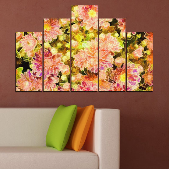 Canvas prints & wall decorative panels - 5 pieces №0673 » Pink, Green, Yellow, Orange, Beige » Flowers, Collage, Spring, Bouquet Form #5