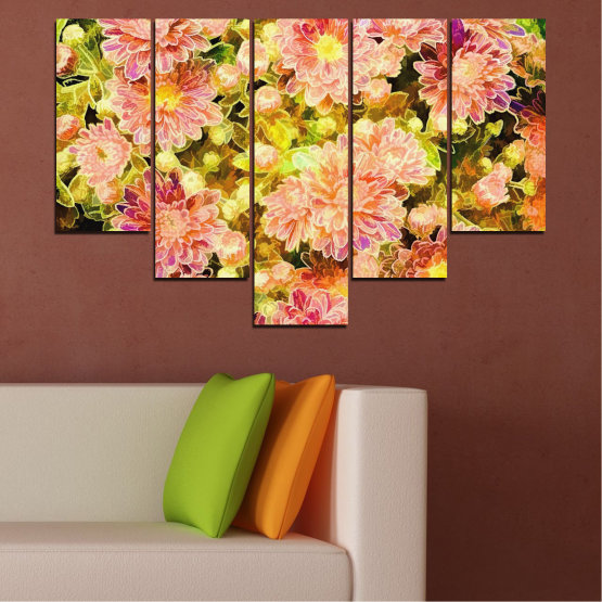 Canvas prints & wall decorative panels - 5 pieces №0673 » Pink, Green, Yellow, Orange, Beige » Flowers, Collage, Spring, Bouquet Form #6