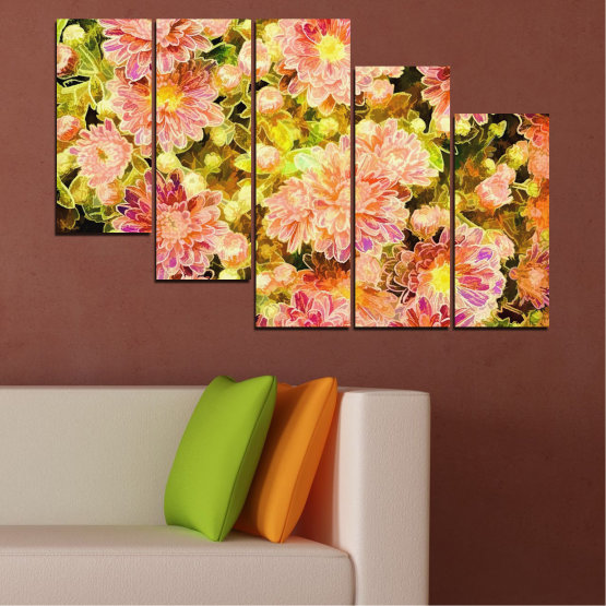 Canvas prints & wall decorative panels - 5 pieces №0673 » Pink, Green, Yellow, Orange, Beige » Flowers, Collage, Spring, Bouquet Form #7