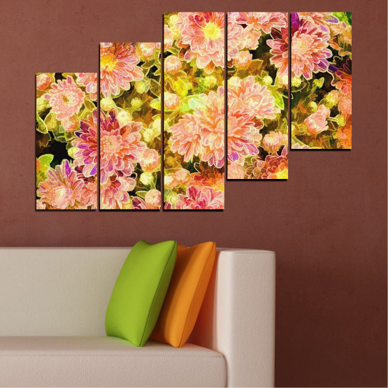 Canvas prints & wall decorative panels - 5 pieces №0673 » Pink, Green, Yellow, Orange, Beige » Flowers, Collage, Spring, Bouquet Form #8