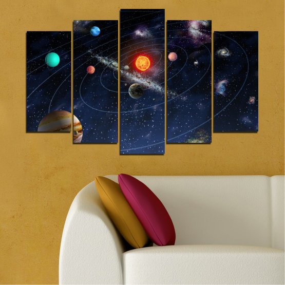 Canvas prints & wall decorative panels - 5 pieces №0674 » Brown, Black, Gray, Dark grey » Space, Galaxy, Planet Form #1