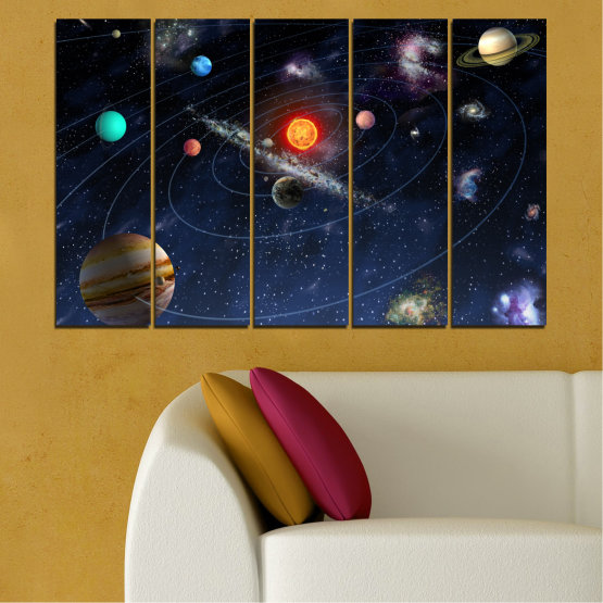 Canvas prints & wall decorative panels - 5 pieces №0674 » Brown, Black, Gray, Dark grey » Space, Galaxy, Planet Form #2