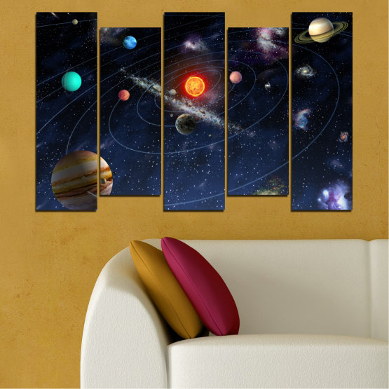 Canvas prints & wall decorative panels - 5 pieces №0674 » Brown, Black, Gray, Dark grey » Space, Galaxy, Planet Form #3