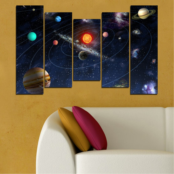 Canvas prints & wall decorative panels - 5 pieces №0674 » Brown, Black, Gray, Dark grey » Space, Galaxy, Planet Form #4