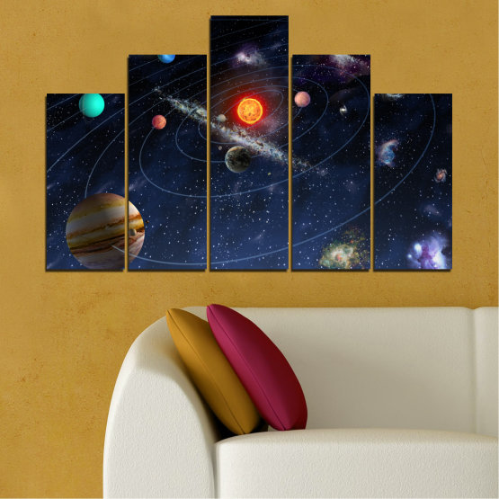 Canvas prints & wall decorative panels - 5 pieces №0674 » Brown, Black, Gray, Dark grey » Space, Galaxy, Planet Form #5