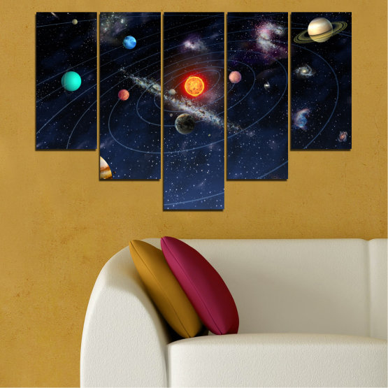 Canvas prints & wall decorative panels - 5 pieces №0674 » Brown, Black, Gray, Dark grey » Space, Galaxy, Planet Form #6