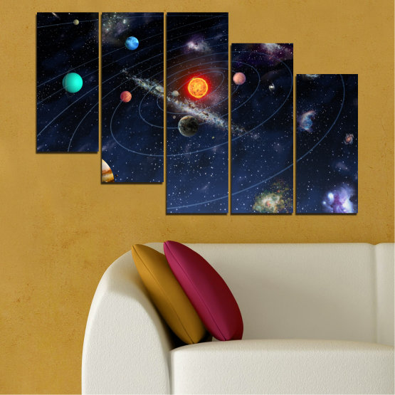 Canvas prints & wall decorative panels - 5 pieces №0674 » Brown, Black, Gray, Dark grey » Space, Galaxy, Planet Form #7