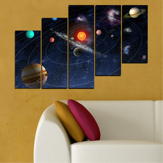 Canvas prints & wall decorative panels - 5 pieces №0674 » Brown, Black, Gray, Dark grey » Space, Galaxy, Planet Form #8