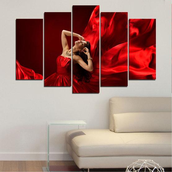 Εκτύπωση σε καμβά και διακοσμητικά πάνελ τοίχου - 5 τεμάχια №0675 » Κόκκινος, Μαύρος » Γυναίκα, Μόδα, Φόρεμα Form #1