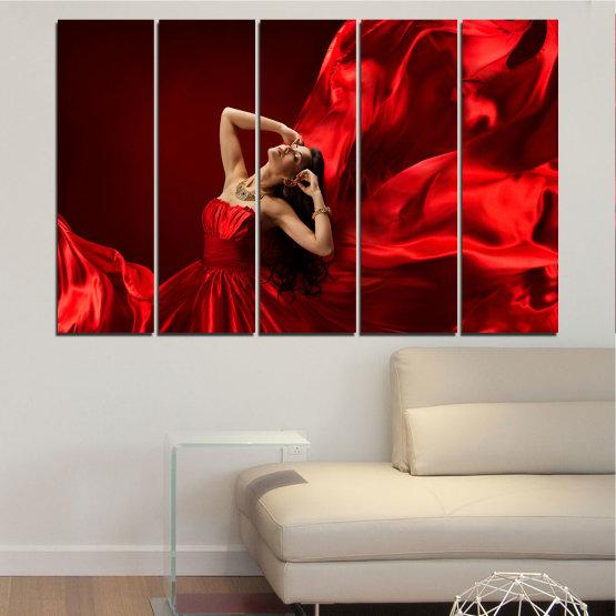 Εκτύπωση σε καμβά και διακοσμητικά πάνελ τοίχου - 5 τεμάχια №0675 » Κόκκινος, Μαύρος » Γυναίκα, Μόδα, Φόρεμα Form #2