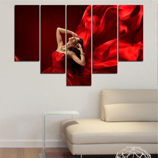 Εκτύπωση σε καμβά και διακοσμητικά πάνελ τοίχου - 5 τεμάχια №0675 » Κόκκινος, Μαύρος » Γυναίκα, Μόδα, Φόρεμα Form #6
