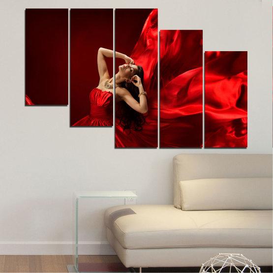 Εκτύπωση σε καμβά και διακοσμητικά πάνελ τοίχου - 5 τεμάχια №0675 » Κόκκινος, Μαύρος » Γυναίκα, Μόδα, Φόρεμα Form #7