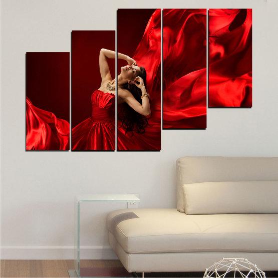 Εκτύπωση σε καμβά και διακοσμητικά πάνελ τοίχου - 5 τεμάχια №0675 » Κόκκινος, Μαύρος » Γυναίκα, Μόδα, Φόρεμα Form #8