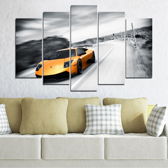 Canvas prints & wall decorative panels - 5 pieces №0676 » Black, Gray, White, Dark grey » Car, Vehicle, Road Form #1