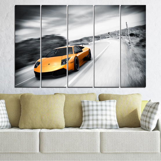 Canvas prints & wall decorative panels - 5 pieces №0676 » Black, Gray, White, Dark grey » Car, Vehicle, Road Form #2