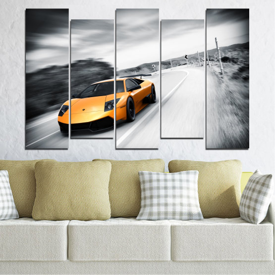 Canvas prints & wall decorative panels - 5 pieces №0676 » Black, Gray, White, Dark grey » Car, Vehicle, Road Form #3