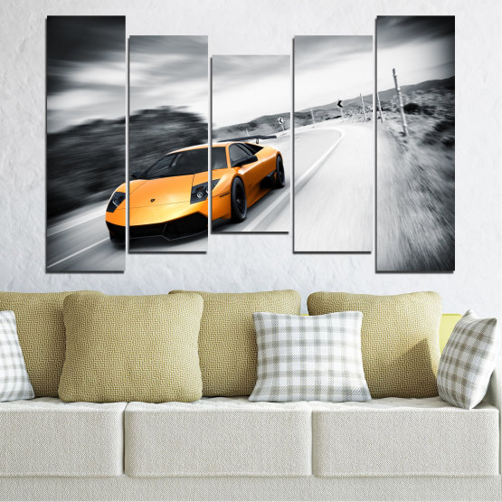 Canvas prints & wall decorative panels - 5 pieces №0676 » Black, Gray, White, Dark grey » Car, Vehicle, Road Form #4