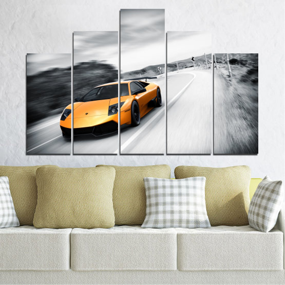 Canvas prints & wall decorative panels - 5 pieces №0676 » Black, Gray, White, Dark grey » Car, Vehicle, Road Form #5
