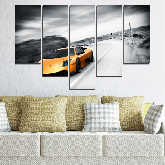 Canvas prints & wall decorative panels - 5 pieces №0676 » Black, Gray, White, Dark grey » Car, Vehicle, Road Form #6