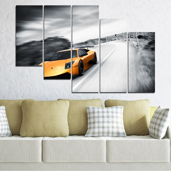 Canvas prints & wall decorative panels - 5 pieces №0676 » Black, Gray, White, Dark grey » Car, Vehicle, Road Form #7