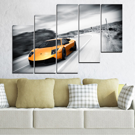 Canvas prints & wall decorative panels - 5 pieces №0676 » Black, Gray, White, Dark grey » Car, Vehicle, Road Form #8