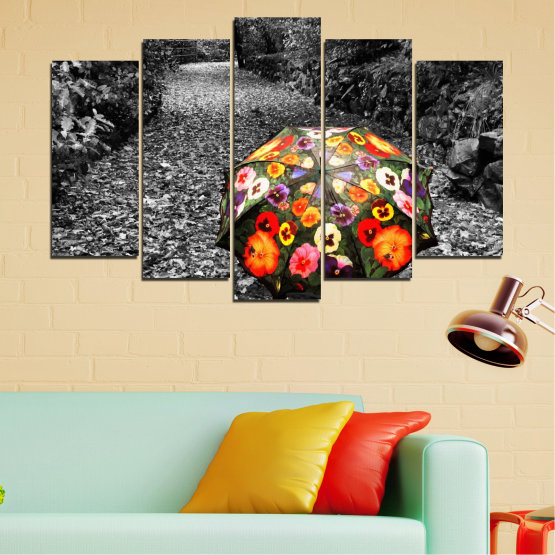 Canvas prints & wall decorative panels - 5 pieces №0677 » Black, Gray, White, Dark grey » Flowers, Forest, Colorful, Umbrella Form #1