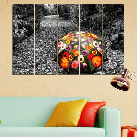 Canvas prints & wall decorative panels - 5 pieces №0677 » Black, Gray, White, Dark grey » Flowers, Forest, Colorful, Umbrella Form #2