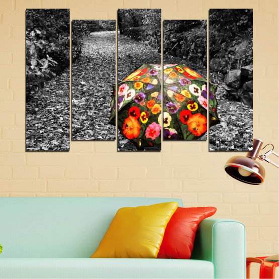 Canvas prints & wall decorative panels - 5 pieces №0677 » Black, Gray, White, Dark grey » Flowers, Forest, Colorful, Umbrella Form #3