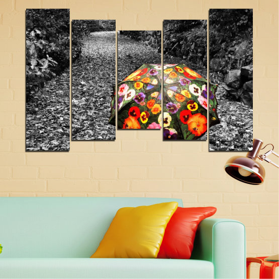 Canvas prints & wall decorative panels - 5 pieces №0677 » Black, Gray, White, Dark grey » Flowers, Forest, Colorful, Umbrella Form #4
