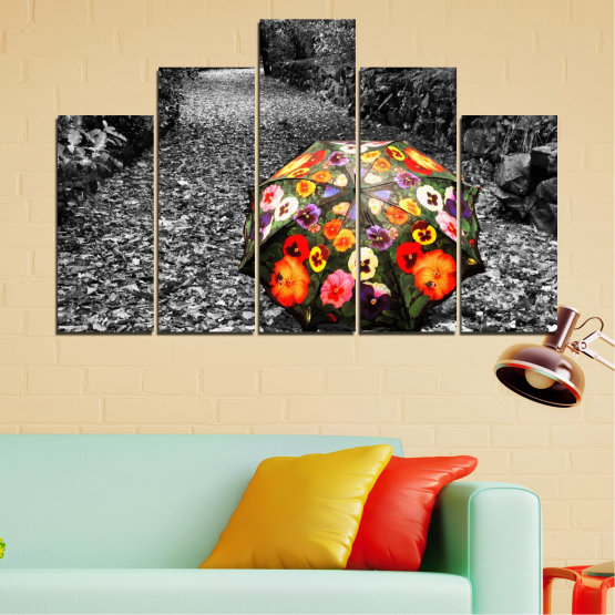 Canvas prints & wall decorative panels - 5 pieces №0677 » Black, Gray, White, Dark grey » Flowers, Forest, Colorful, Umbrella Form #5