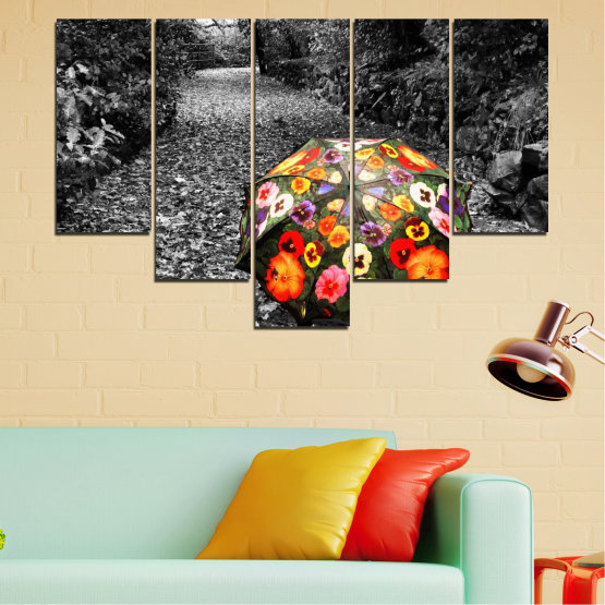 Canvas prints & wall decorative panels - 5 pieces №0677 » Black, Gray, White, Dark grey » Flowers, Forest, Colorful, Umbrella Form #6