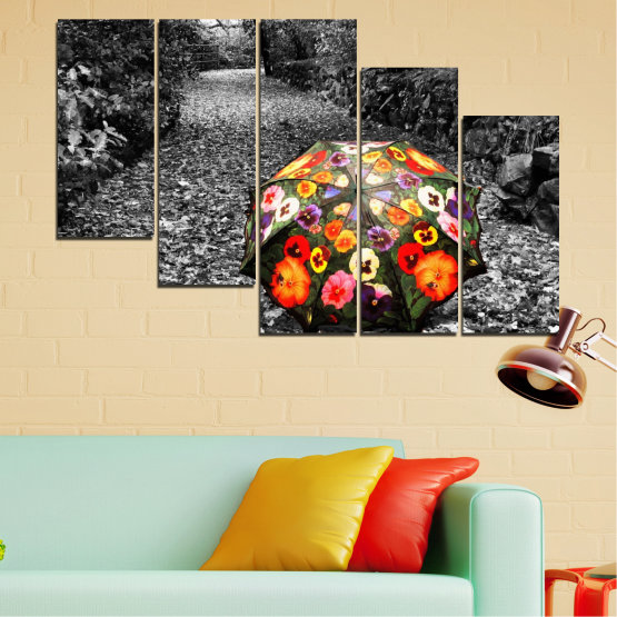 Canvas prints & wall decorative panels - 5 pieces №0677 » Black, Gray, White, Dark grey » Flowers, Forest, Colorful, Umbrella Form #7