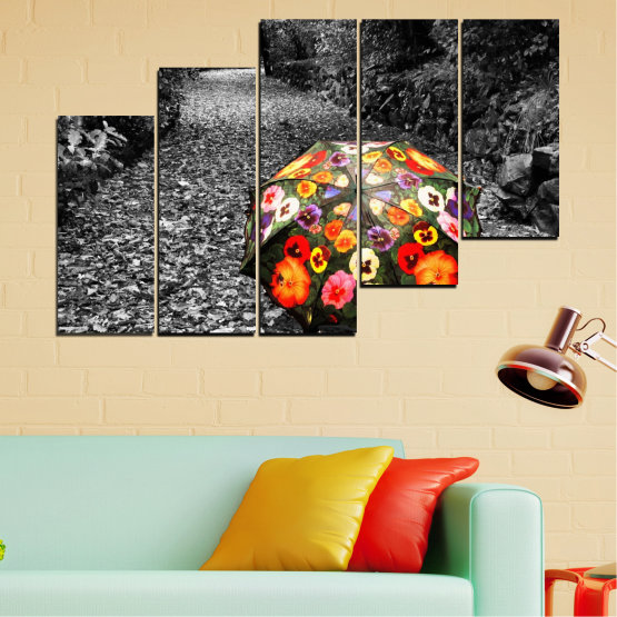 Canvas prints & wall decorative panels - 5 pieces №0677 » Black, Gray, White, Dark grey » Flowers, Forest, Colorful, Umbrella Form #8
