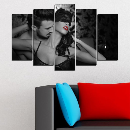 Canvas prints & wall decorative panels - 5 pieces №0678 » Black, Gray, White, Dark grey » Woman, Erotic, Color accent Form #1
