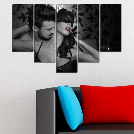 Canvas prints & wall decorative panels - 5 pieces №0678 » Black, Gray, White, Dark grey » Woman, Erotic, Color accent Form #6