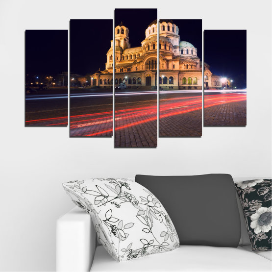 Canvas prints & wall decorative panels - 5 pieces №0068 » Red, Orange, Brown, Black, Dark grey » Landmark, Bulgaria, City, Night, Capital, Alexander nevsky, Church, Temple Form #1
