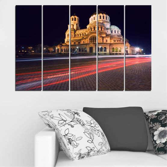 Canvas prints & wall decorative panels - 5 pieces №0068 » Red, Orange, Brown, Black, Dark grey » Landmark, Bulgaria, City, Night, Capital, Alexander nevsky, Church, Temple Form #2