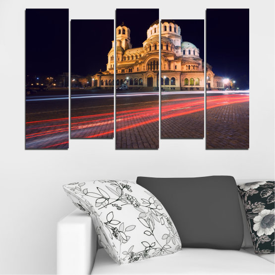Canvas prints & wall decorative panels - 5 pieces №0068 » Red, Orange, Brown, Black, Dark grey » Landmark, Bulgaria, City, Night, Capital, Alexander nevsky, Church, Temple Form #3