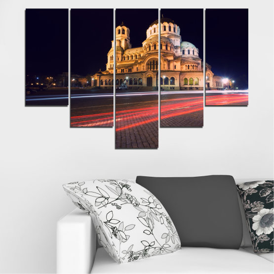 Canvas prints & wall decorative panels - 5 pieces №0068 » Red, Orange, Brown, Black, Dark grey » Landmark, Bulgaria, City, Night, Capital, Alexander nevsky, Church, Temple Form #6
