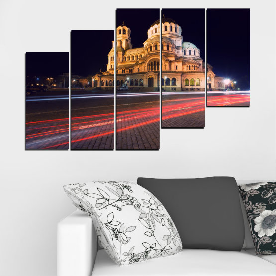 Canvas prints & wall decorative panels - 5 pieces №0068 » Red, Orange, Brown, Black, Dark grey » Landmark, Bulgaria, City, Night, Capital, Alexander nevsky, Church, Temple Form #8