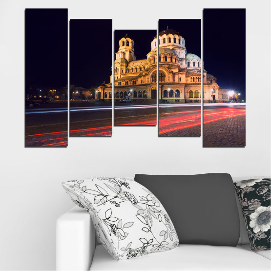 Canvas prints & wall decorative panels - 5 pieces №0068 » Red, Orange, Brown, Black, Dark grey » Landmark, Bulgaria, City, Night, Capital, Alexander nevsky, Church, Temple Form #4