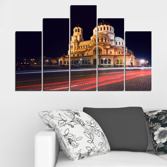 Canvas prints & wall decorative panels - 5 pieces №0068 » Red, Orange, Brown, Black, Dark grey » Landmark, Bulgaria, City, Night, Capital, Alexander nevsky, Church, Temple Form #5