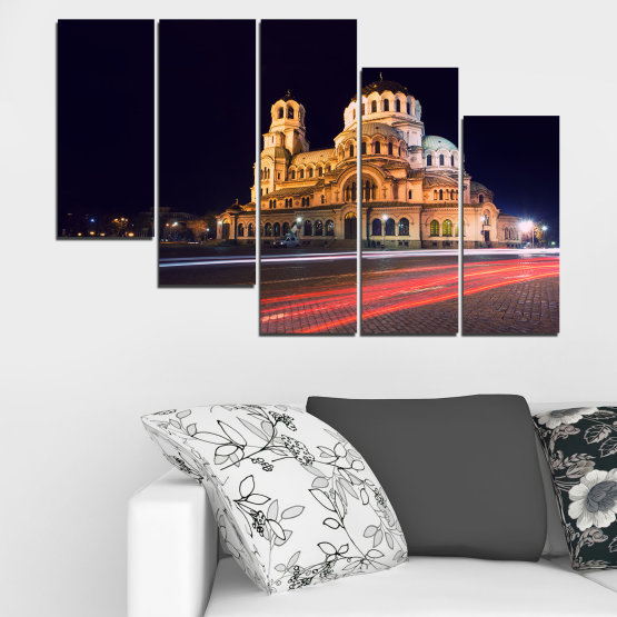 Canvas prints & wall decorative panels - 5 pieces №0068 » Red, Orange, Brown, Black, Dark grey » Landmark, Bulgaria, City, Night, Capital, Alexander nevsky, Church, Temple Form #7