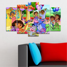 Children, Animated, Dora the explorer » Turquoise, Green, Orange, Gray, Beige