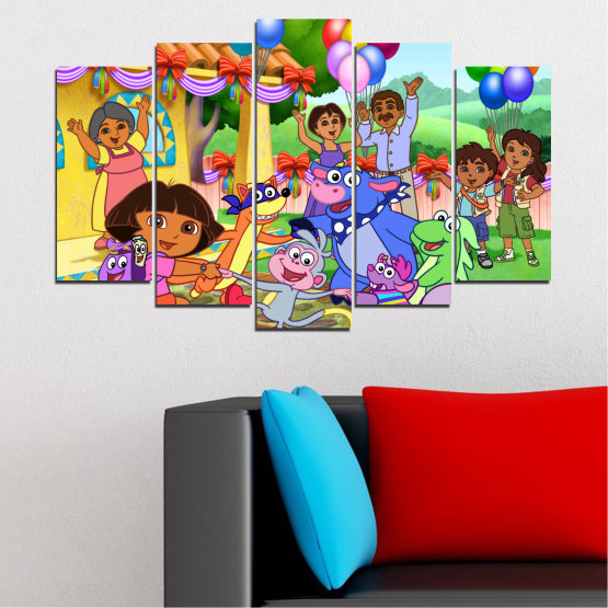 Canvas prints & wall decorative panels - 5 pieces №0680 » Turquoise, Green, Orange, Gray, Beige » Children, Animated, Dora the explorer Form #1
