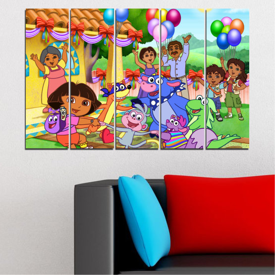 Canvas prints & wall decorative panels - 5 pieces №0680 » Turquoise, Green, Orange, Gray, Beige » Children, Animated, Dora the explorer Form #2