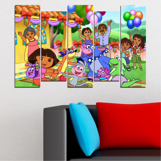 Canvas prints & wall decorative panels - 5 pieces №0680 » Turquoise, Green, Orange, Gray, Beige » Children, Animated, Dora the explorer Form #3