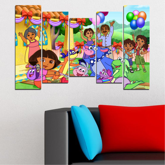 Canvas prints & wall decorative panels - 5 pieces №0680 » Turquoise, Green, Orange, Gray, Beige » Children, Animated, Dora the explorer Form #4